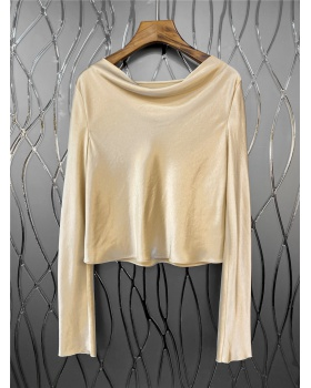 Lazy European style chiffon shirt spring tops for women