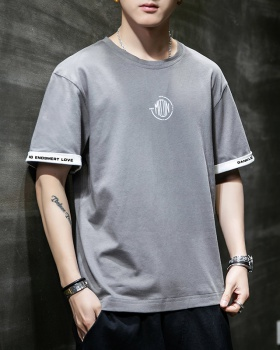 Loose Chinese style tops round neck short sleeve T-shirt for men