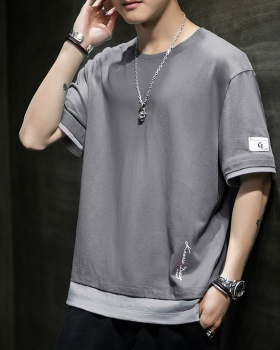Pseudo-two Korean style tops short sleeve T-shirt for men