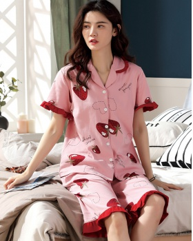 Summer cotton pajamas short sleeve cardigan for women
