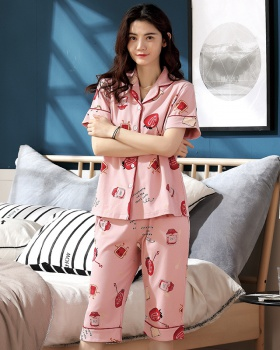 Short sleeve pajamas pure cotton cardigan for women