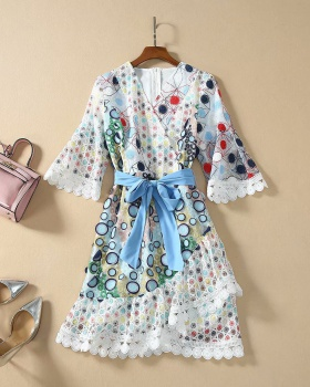 Colors European style round ring patch dress for women