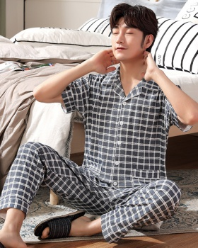 Summer thin plaid cardigan cotton pure cotton pajamas for men