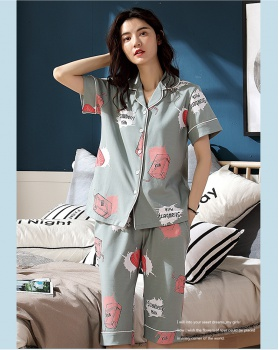 Casual wears outside pajamas lapel cropped pants for women