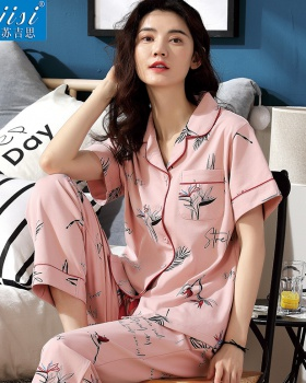 Short sleeve cardigan long pants a set for women