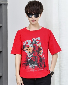 Round neck fashion loose printing cotton T-shirt for men