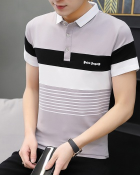 Stripe Korean style T-shirt printing lapel shirts for men