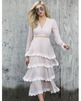 V-neck long sleeve lace hollow cake dress for women