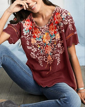 Summer embroidered tops European style shirt for women