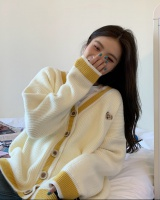 Spring V-neck coat yellow loose cardigan