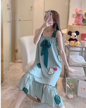 Fat short sleeve pure cotton sling night dress