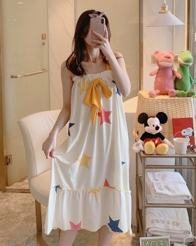 At home large yard pure cotton summer Korean style night dress