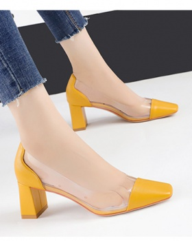 Square head high-heeled shoes sandals for women