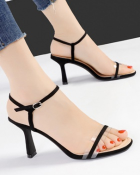 Thick open toe high-heeled shoes villus sandals for women