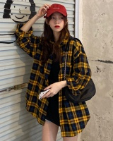 Retro plaid all-match yellow long sleeve loose shirt