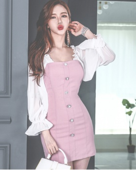 Splice spring package hip ladies fashion temperament dress