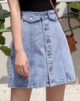 Single-breasted skirt slim denim skirt for women