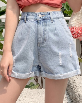 Korean style loose short jeans high waist shorts for women