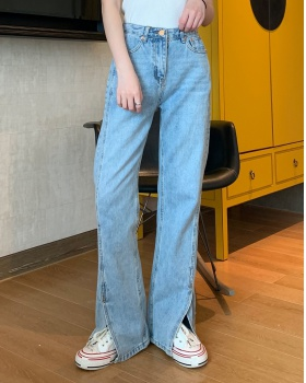 Mopping split high waist jeans slim light color pants