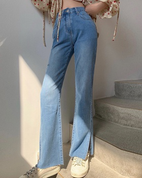 Split denim long long pants