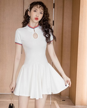 Summer pinched waist hollow dress sexy elasticity T-back