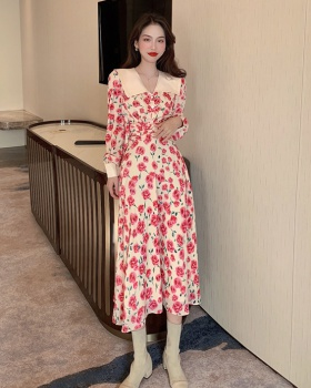 Exceed knee pinched waist floral slim retro dress