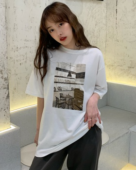 Student all-match summer tops retro printing T-shirt