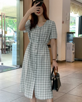 Plaid loose breasted slim frenum summer dress for women