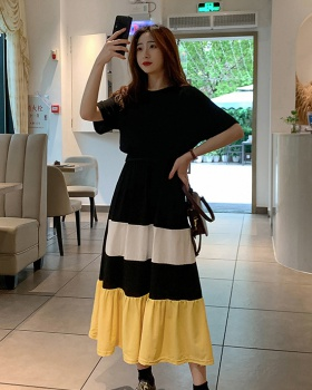 Big Korean style mixed colors summer long dress for women