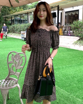 Long horizontal collar strapless floral dress for women