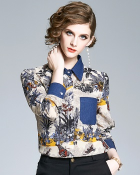 Printing long sleeve tops France style shirt