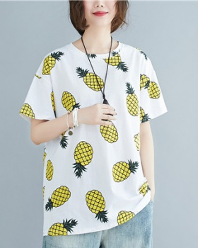 Fat large yard tops round neck slim T-shirt