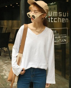 Korean style all-match simple pure V-neck long sleeve T-shirt