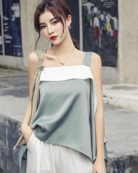 Sling irregular mixed colors strapless silky tops