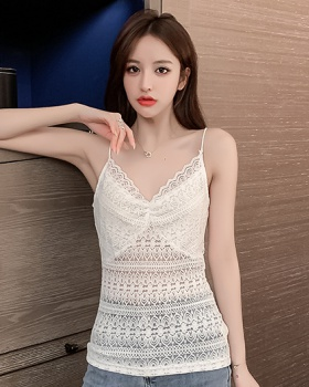 Sling sexy bottoming shirt lace beauty back vest for women