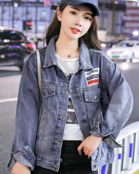 Denim fashion handsome coat Casual personality tops
