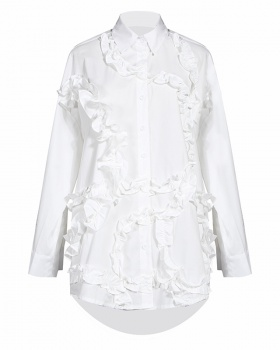 White black shirt spring and autumn pure tops for women