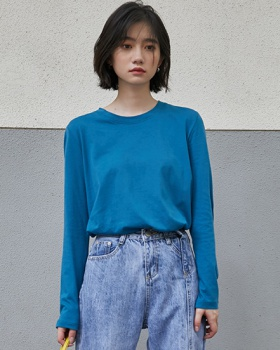 Round neck bottoming shirt long T-shirt for women