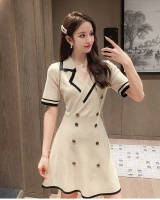 Korean style short sleeve spring and summer knitted slim dress