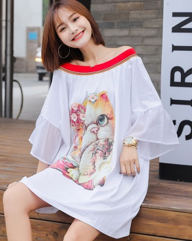 Strapless kitty skirt loose large yard T-shirt for women
