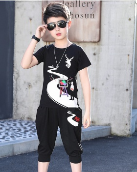 Cartoon fawn short sleeve printing kids 2pcs set