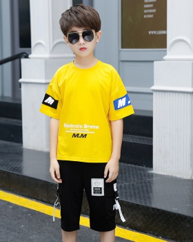 Western style short sleeve boy summer kids 2pcs set