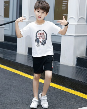 Boy sports big child short sleeve summer kids 2pcs set
