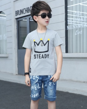 Boy Korean style summer imperial crown tops 2pcs set