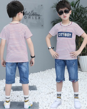 Stripe boy big child summer denim tops 2pcs set
