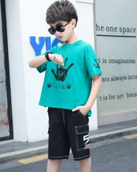 Big child boy sports handsome denim tops 2pcs set