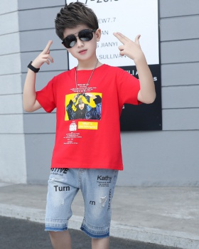 Short sleeve big child child fashion printing boy tops 2pcs set