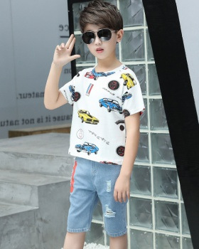 Summer short sleeve boy big child child jeans 2pcs set