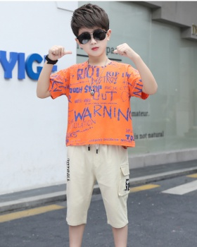 Small child handsome T-shirt short sleeve boy kids 2pcs set