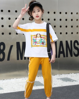 Korean style Western style slim summer pants 2pcs set for women
